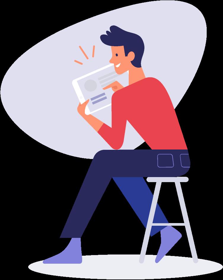 Illustration-junger-mann am-tablet